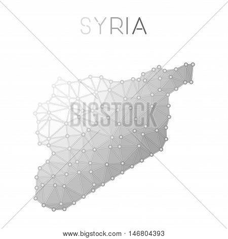 Syrian Arab Republic Polygonal Vector Map. Molecular Structure Country Map Design. Network Connectio
