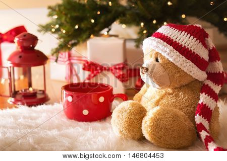 Bear With Christmas Gift Boxes At Night