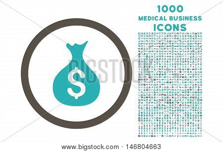 Money Sack rounded vector bicolor icon with 1000 medical business icons. Set style is flat pictograms, grey and cyan colors, white background.