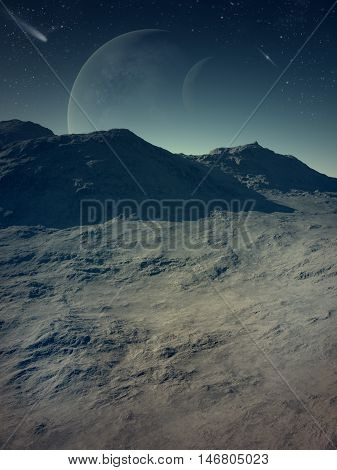 3d generated space landscape: Deserted earth with planets in background