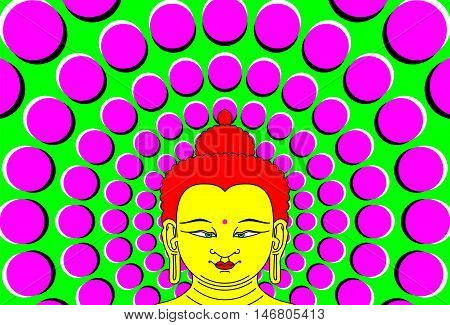 Psychedelic Buddha with moving background. Transcendent Bodhisattva illustration with peripheral drift optical illusion. It seems, the wheel with magenta dots on green become bigger with eye movement. vector