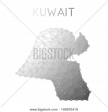 Kuwait Polygonal Vector Map. Molecular Structure Country Map Design. Network Connections Polygonal K
