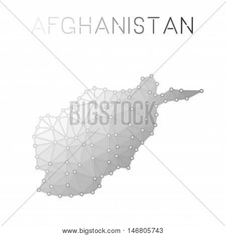 Afghanistan Polygonal Vector Map. Molecular Structure Country Map Design. Network Connections Polygo