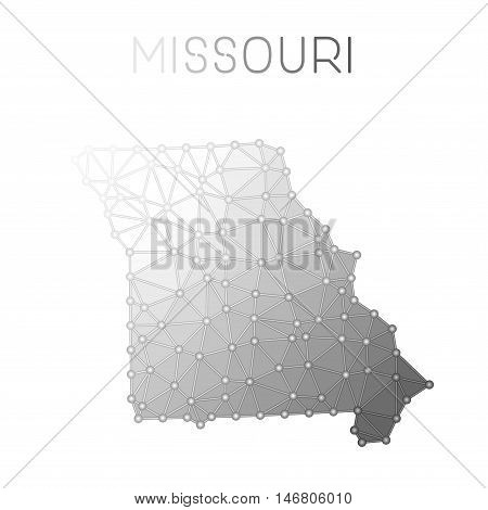 Missouri Polygonal Vector Map. Molecular Structure Us State Map Design. Network Connections Polygona
