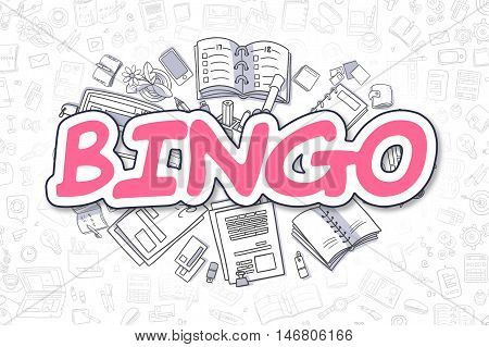 Bingo - Sketch Business Illustration. Magenta Hand Drawn Inscription Bingo Surrounded by Stationery. Doodle Design Elements.