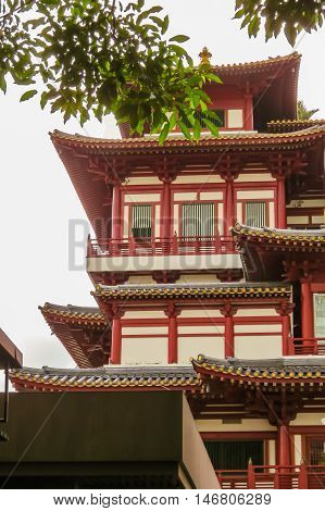 SINGAPORE, REPUBLIC OF SINGAPORE - JANUARY 09, 2014: Buddha Toothe Relic Temple, Chinatown, Singapore city