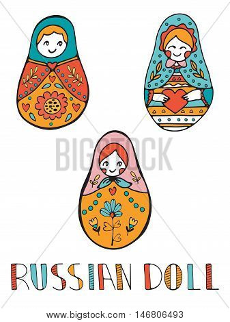Colorful card with cute russian dolls. Illustration in vector format