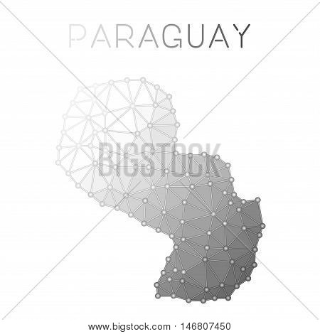 Paraguay Polygonal Vector Map. Molecular Structure Country Map Design. Network Connections Polygonal