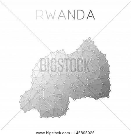 Rwanda Polygonal Vector Map. Molecular Structure Country Map Design. Network Connections Polygonal R