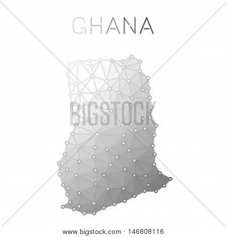 Ghana Polygonal Vector Map. Molecular Structure Country Map Design. Network Connections Polygonal Gh