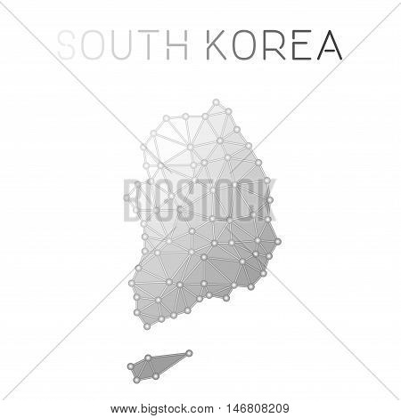 Korea, Republic Of Polygonal Vector Map. Molecular Structure Country Map Design. Network Connections