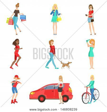 Women And Girls Different Lifestyle And Activities Set Of Flat Simplified Childish Style Cute Vector Illustrations Isolated On White Background