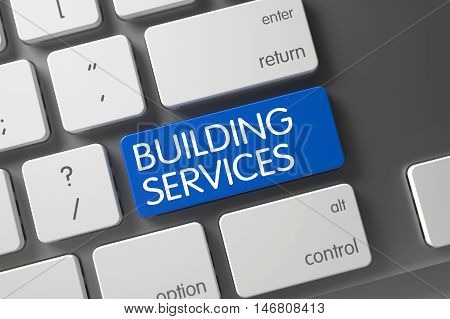 Concept of Building Services, with Building Services on Blue Enter Key on Laptop Keyboard. 3D Render.