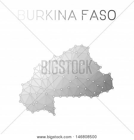 Burkina Faso Polygonal Vector Map. Molecular Structure Country Map Design. Network Connections Polyg