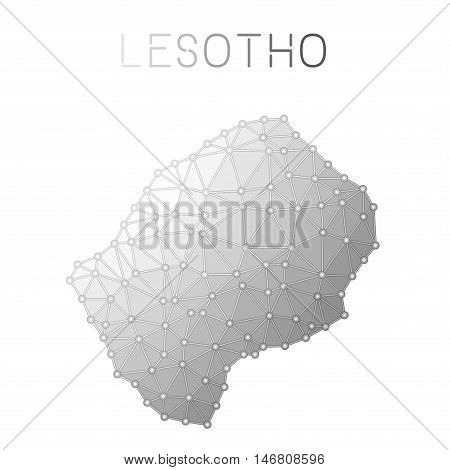 Lesotho Polygonal Vector Map. Molecular Structure Country Map Design. Network Connections Polygonal