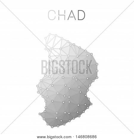 Chad Polygonal Vector Map. Molecular Structure Country Map Design. Network Connections Polygonal Cha
