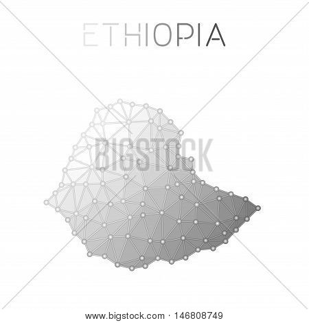 Ethiopia Polygonal Vector Map. Molecular Structure Country Map Design. Network Connections Polygonal