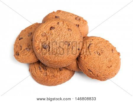 Oatmeal cookies with chocolate isolated on white background