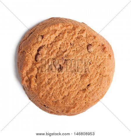 Single oatmeal cookie with chocolate isolated on white background