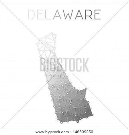 Delaware Polygonal Vector Map. Molecular Structure Us State Map Design. Network Connections Polygona