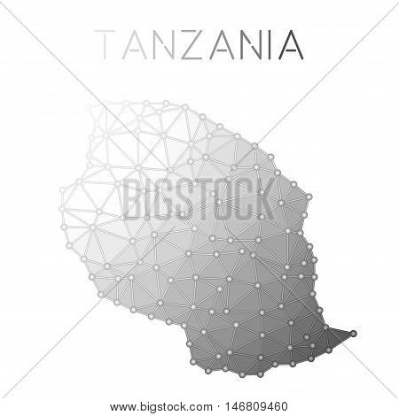 Tanzania, United Republic Of Polygonal Vector Map. Molecular Structure Country Map Design. Network C