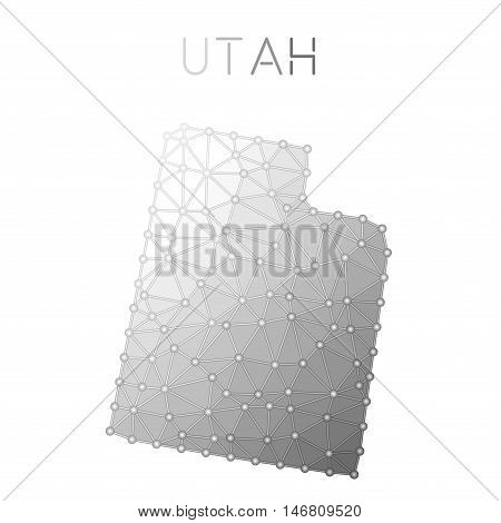 Utah Polygonal Vector Map. Molecular Structure Us State Map Design. Network Connections Polygonal Ut