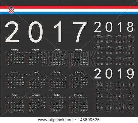 Set Of Black Croatian 2017, 2018, 2019 Year Vector Calendars