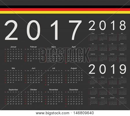 Set Of Black German 2017, 2018, 2019 Year Vector Calendars