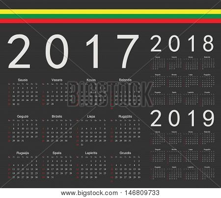 Set Of Black Lithuanian 2017, 2018, 2019 Year Vector Calendars