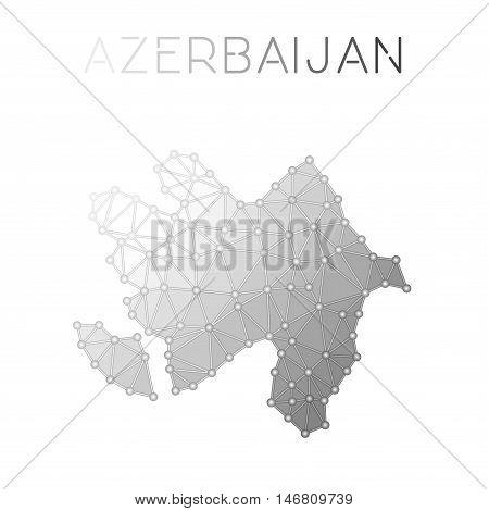 Azerbaijan Polygonal Vector Map. Molecular Structure Country Map Design. Network Connections Polygon