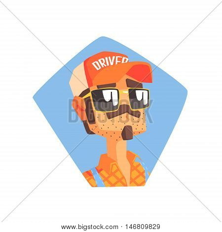 Long Distance Truck Driver Portrait Cool Colorful Vector Illustration In Stylized Geometric Cartoon Design