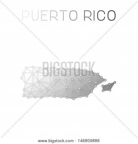 Puerto Rico Polygonal Vector Map. Molecular Structure Country Map Design. Network Connections Polygo