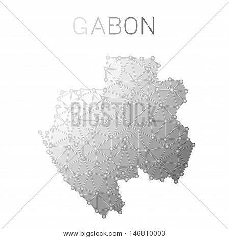 Gabon Polygonal Vector Map. Molecular Structure Country Map Design. Network Connections Polygonal Ga
