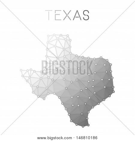 Texas Polygonal Vector Map. Molecular Structure Us State Map Design. Network Connections Polygonal T