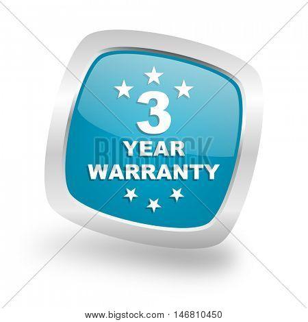 warranty guarantee 3 year square glossy chrome silver metallic web icon