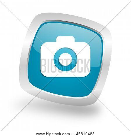 photo camera square glossy chrome silver metallic web icon