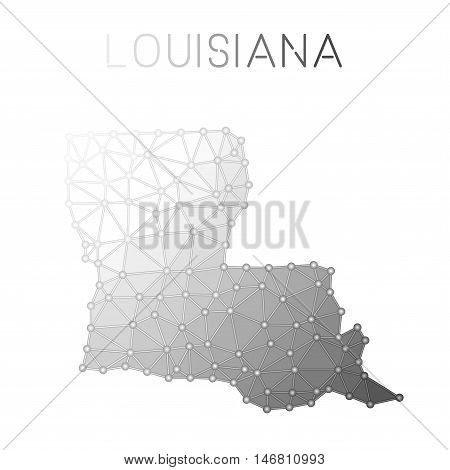 Louisiana Polygonal Vector Map. Molecular Structure Us State Map Design. Network Connections Polygon