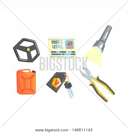 Set Of Different Truck Driver Job Related Items. Stirring Wheel, License, Plyers, Lamp, Petrol Canister And Keys Cool Colorful Vector Illustration In Stylized Geometric Cartoon Design