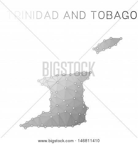 Trinidad And Tobago Polygonal Vector Map. Molecular Structure Country Map Design. Network Connection
