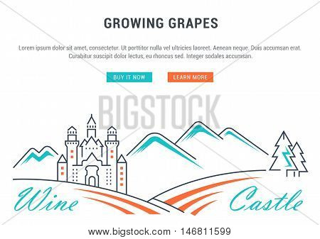 Flat line illustration of wine making grape cultivation and Wine Castle. Concept for web banners and printed materials. Template with buttons for website banner and landing page.