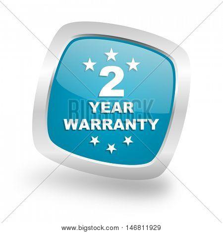 warranty guarantee 2 year square glossy chrome silver metallic web icon