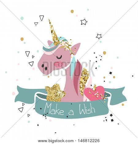 make a wish card with pink unicorn
