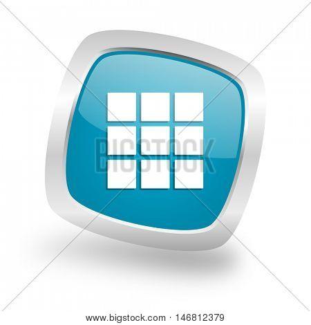 thumbnails grid square glossy chrome silver metallic web icon