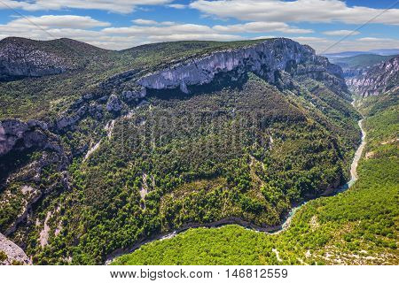 The biggest mountain canyon in Europe in the spring. Canyon of Verdon, Provence, France