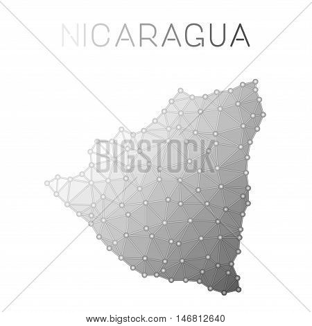 Nicaragua Polygonal Vector Map. Molecular Structure Country Map Design. Network Connections Polygona