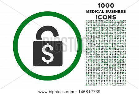 Unlock Banking Lock rounded vector bicolor icon with 1000 medical business icons. Set style is flat pictograms, green and gray colors, white background.