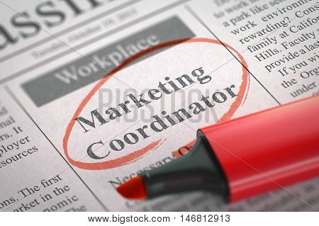 Newspaper with Classified Advertisement of Hiring Marketing Coordinator. Blurred Image with Selective focus. Concept of Recruitment. 3D.