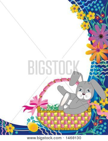 Easter Basket With Bunny And Flowers