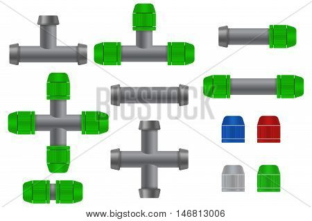 Pipe connections for garden hose. Quick Connector. Green fittings. Vector illustration on white background