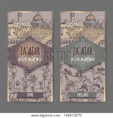 Two Zaatar spice mixture labels with Jerusalem town landscape, thyme and oregano sketch. Culinary herbs collection. Great for cooking, medical, gardening design.